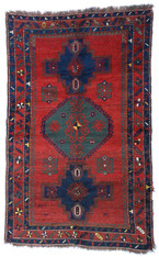 "Antique Caucasian Kazak Rug 4'7"" x 7'2"""