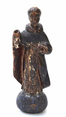 Antique Spanish Colonial Carved Wood Santo of Saint Anthony