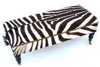 Elegant Colonial Zebra Hide Upholstered Bench