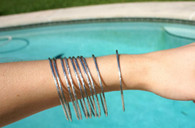 Silver Tone Set of 10 Thin Bangles Wardrobe Staple!