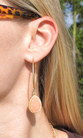 "My Favorite Earrings! Gold Tone Hoops (1.5"") Light Pink Crystal-y Stone (1"") 2.5"" drop"