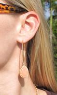 """My Favorite Earrings! Gold Tone Hoops (1.5"""") Light Pink Crystal-y Stone (1"""") 2.5"""" drop"""