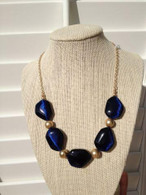 "Gold Tone Beads  Blue Stone Necklace 21"" long"