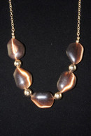 """Gold Tone Beads Blue Stone Necklace 21"""" long"""