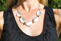 White Stone w/Gold Tone Beads Length 21""
