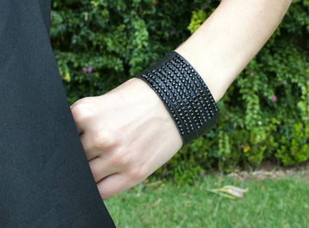 "Black Leather and Black Rhinestone Snap Bracelet Length 9"" with 2 snaps to adjust"