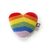 Rainbow Heart Crocheted Toy