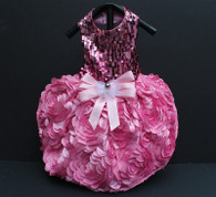 Ombre Pink Sequin 3D Flower Birthday Party Dress