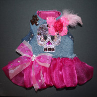 Rocker Glam Upcycled Denim Skull Studded Ruffle Harness Vest