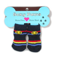 Happy Stripe Print Non-Skid Dog Socks