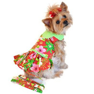 Doggie Design Hawaiian Red Hibiscus Dog Dress