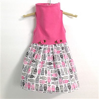 Pink Top with Owl Print Skirt  Dress