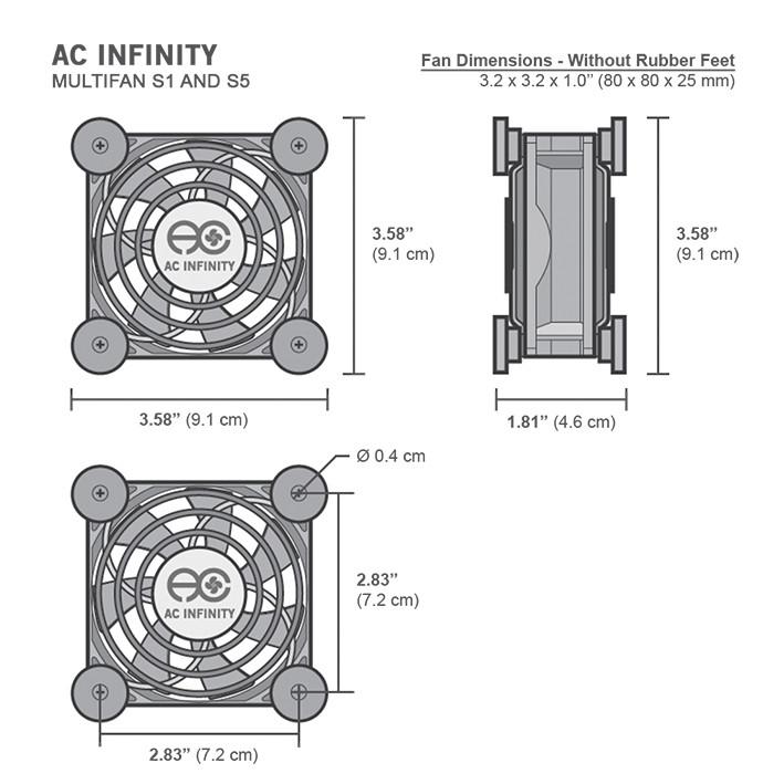 NEW AC Infinity Multifan S1 80mm Quiet USB Cooling Fan