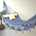 HAMMOCK COUPLES CIRRUS - Blue & White Sprang Weave Nicamaka (Back Order)