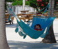 """Viking Hammock"" AQUA One-Bar Sprang-Woven Nicamaka®"
