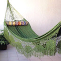 """Family"" PALM (Green & Yellow) Sprang Woven Hammock"