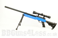 Well MB06 BB gun Airsoft Sniper rifle in blue with bipod and scope