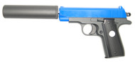 Galaxy G2A metal pistol with silencer in blue