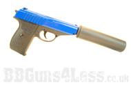 Galaxy G3A Full Metal Pistol with silencer in blue