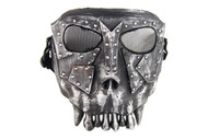 Airsoft Fantasy Warrior Skull Mask in silver and black Polymer