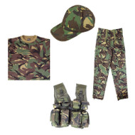 Full Kids Army Kit with Tactical Vest T-Shirt Trousers and Baseball Cap in DPM Camo - Play Set A