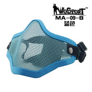 Wo Sport V1 Strike Steel Half Face Mask (Two Belt Version) Blue
