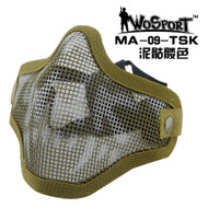 Wo Sport V1 Strike Steel Half Face Mask (Two Belt Version) TAN Skull