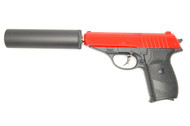 Galaxy G3A Full Metal Pistol with Silencer in Red