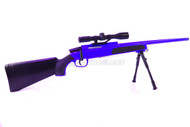 Cyma ZM51 bolt action sniper rifle with scope and bipod in blue