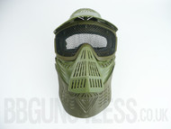 Pro Airsoft Protection mask in green with mesh visor