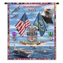 Navy Sea Power Wall Tapestry Wall Tapestry