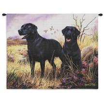 Labrador Retriever Black Wall Tapestry Wall Tapestry