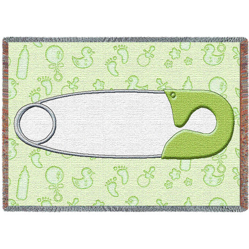 Diaper Pin Green Mini Blanket Tapestry Throw
