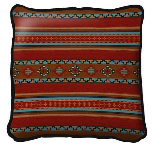 Saddleblanket Red Pillow 17X17 Pillow