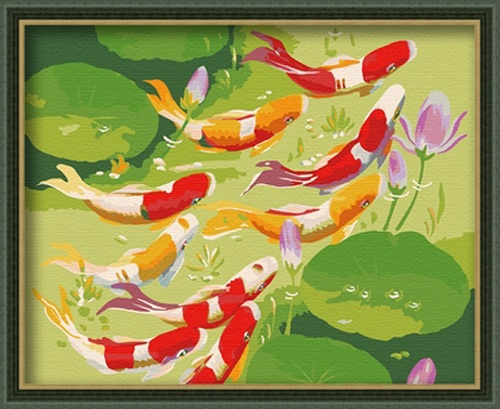 Painting by numbers 40x50cm nine koi fish for Koi fish pond lotus