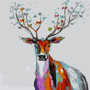 Paint by numbers 40x50cm colourful deer 2 for Pre printed canvas to paint for adults