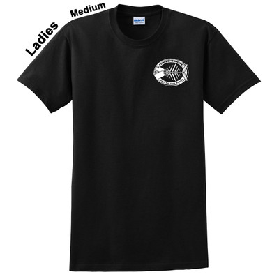 Charity Fishbone Knives Ladies 100% Cotton Black Medium T-Shirt