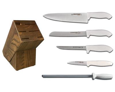 Dexter Russell Cutlery SofGrip Essential Knife Block Set - White Handles VB4048