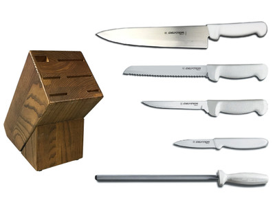 Dexter Russell Cutlery Basics Essential Knife Block Set - White VB4051