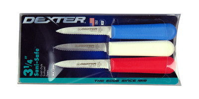 "S104SC Dexter Sani-Safe 3 1/4"" 3-pack of Scalloped parers in Red, White & Blue 15423"