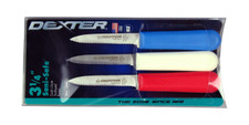 """S104SC Dexter Sani-Safe 3 1/4"""" 3-pack of Scalloped parers in Red, White & Blue 15423"""
