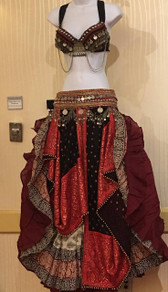 Ruby Red Bra Dupatta Veil with a block print skirt and Solid Colored 25 yd Skirt