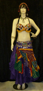 Gorgeous Ensemble Half Skirt Full Skirt Bra Multi Purple Red Yellow