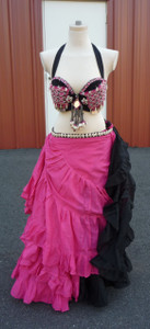Gorgeous Pink Black Ensemble 2 skirts, Bra, Belt antique center piece