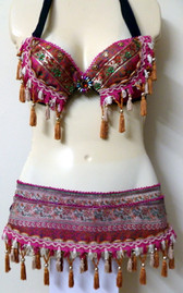 Fuschia and Copper Bra and Belt Set
