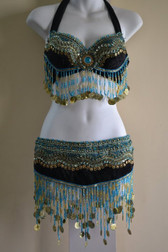 Turquoise Blue and Gold Shimmering Bra and Belt Set