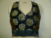 Beautiful Black Brocade halter Top