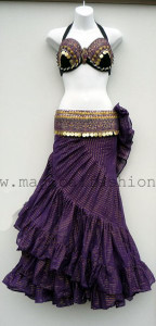 Gorgeous Purple Bra Belt Set with Lurex skirt Ensemble