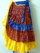 Beautiful Half Jaipur redblue yellow with 25 yard Solid Yellow skirt