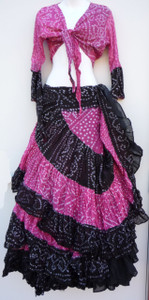 25 Yard Jaipur Skirt and Top Pink Black